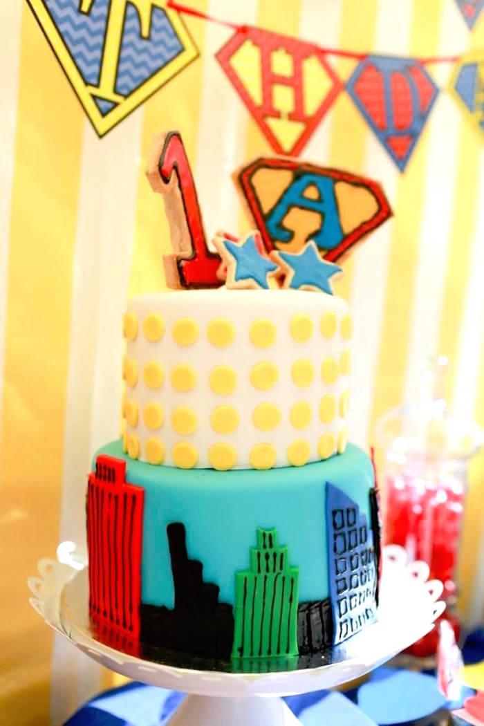 Superhero Cityscape Cake from a Vintage Comic Book Superhero Party on Kara's Party Ideas | KarasPartyIdeas.com (30)