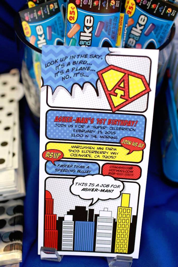 Superhero Party Invite from a Vintage Comic Book Superhero Party on Kara's Party Ideas | KarasPartyIdeas.com (28)