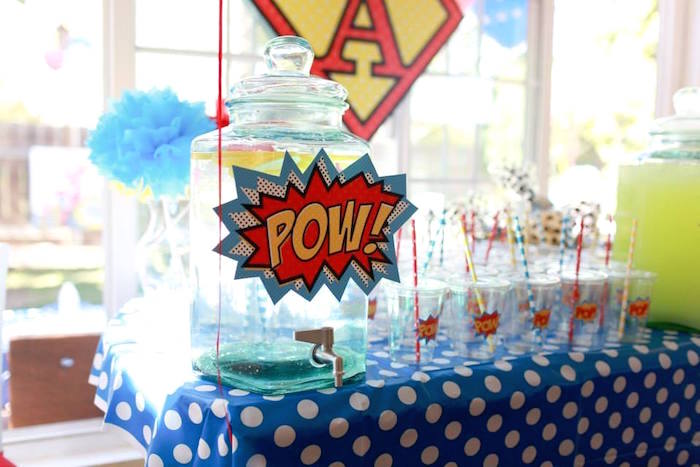 Superhero Beverage Table from a Vintage Comic Book Superhero Party on Kara's Party Ideas | KarasPartyIdeas.com (27)