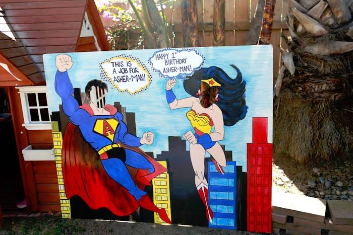 Superman + Wonder Woman Photo Board from a Vintage Comic Book Superhero Party on Kara's Party Ideas | KarasPartyIdeas.com (26)