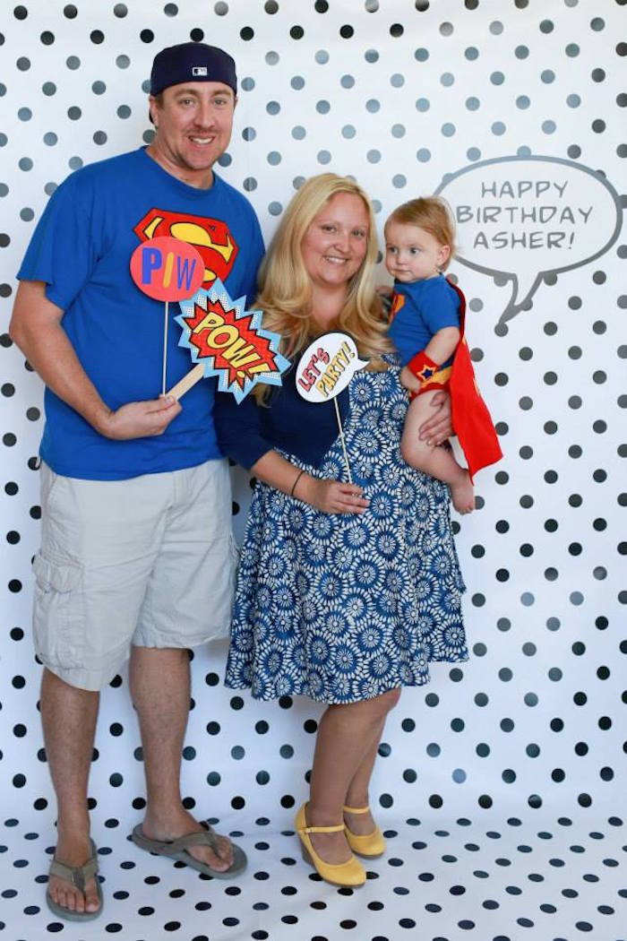 Monochromatic Polka Dot Photo Booth from a Vintage Comic Book Superhero Party on Kara's Party Ideas | KarasPartyIdeas.com (25)
