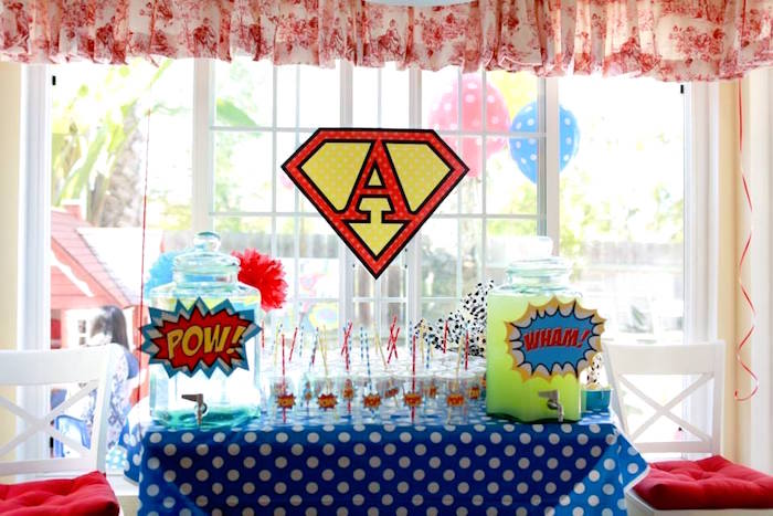 Superhero Beverage Table from a Vintage Comic Book Superhero Party on Kara's Party Ideas | KarasPartyIdeas.com (24)