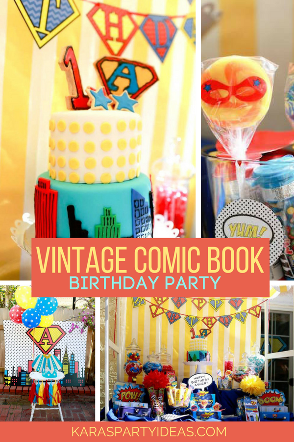 Vintage Comic Book Superhero Party via KarasPartyIdeas - KarasPartyIdeas.com