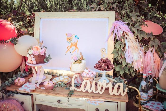 Bambi Themed Dessert Table from a Vintage Shabby Deer Birthday Party on Kara's Party Ideas   KarasPartyIdeas.com (15)
