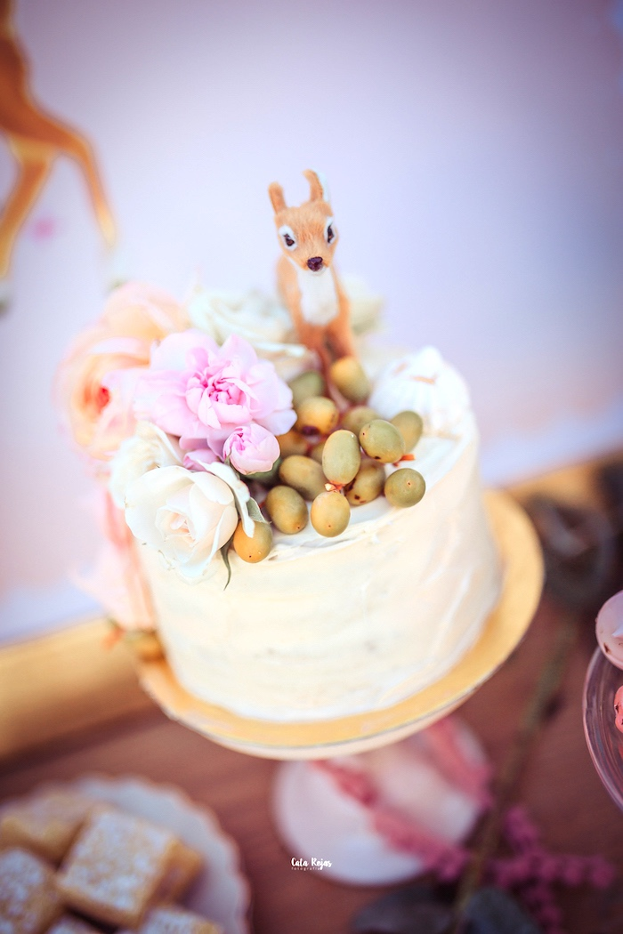 Deer-inspired Cake from a Vintage Shabby Deer Birthday Party on Kara's Party Ideas | KarasPartyIdeas.com (12)