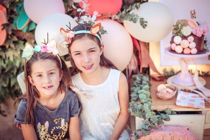Floral Deer Headbands from a Vintage Shabby Deer Birthday Party on Kara's Party Ideas   KarasPartyIdeas.com (8)