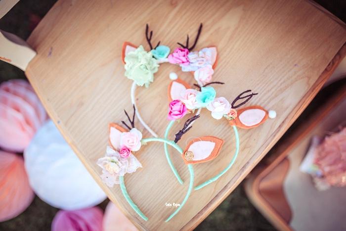 Floral Deer Headbands from a Vintage Shabby Deer Birthday Party on Kara's Party Ideas   KarasPartyIdeas.com (7)