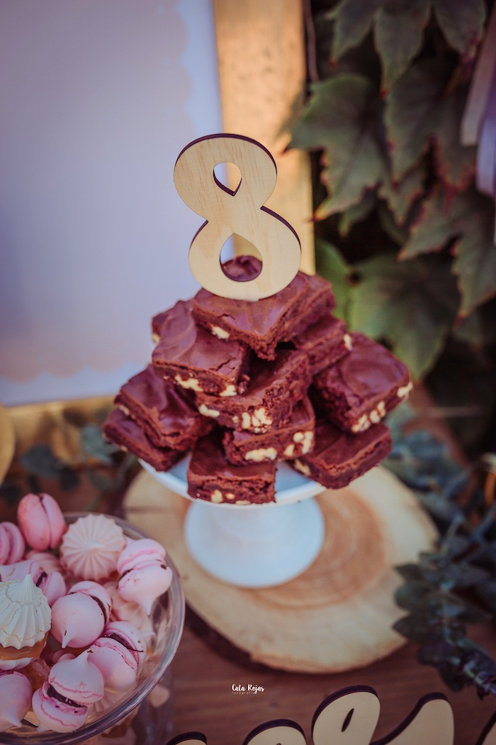 Brownies topped with a gold number topper from a Vintage Shabby Deer Birthday Party on Kara's Party Ideas | KarasPartyIdeas.com (21)