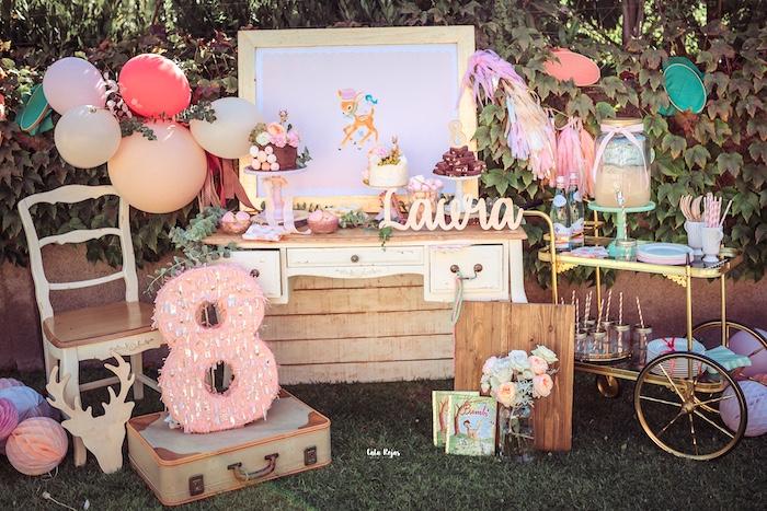 Bambi Themed Dessert Table from a Vintage Shabby Deer Birthday Party on Kara's Party Ideas   KarasPartyIdeas.com (17)