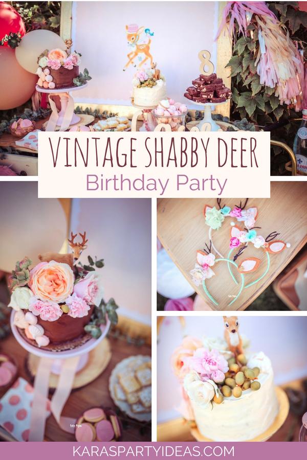 Astonishing Karas Party Ideas Vintage Shabby Deer Birthday Party Karas Birthday Cards Printable Inklcafe Filternl