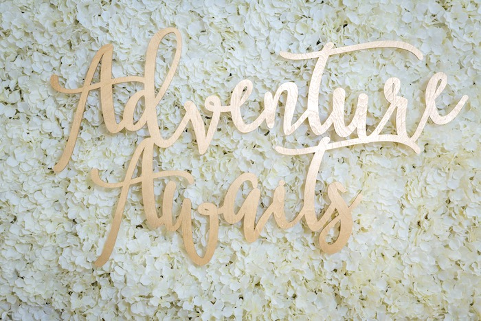 Gold Adventure Awaits Signage from a White and Gold Baby Shower on Kara's Party Ideas | KarasPartyIdeas.com (9)