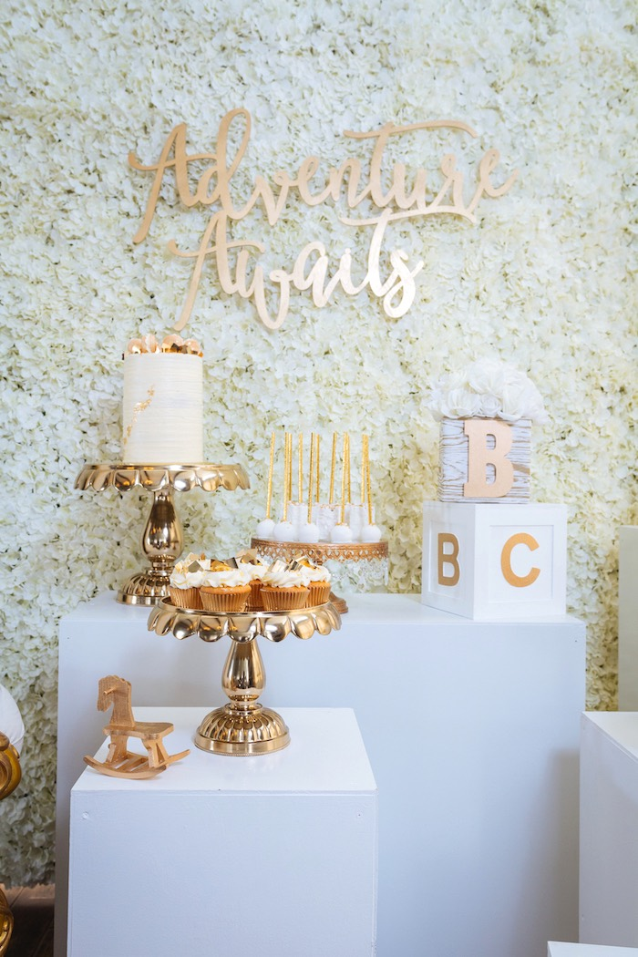 Dessert Spread from a White and Gold Baby Shower on Kara's Party Ideas | KarasPartyIdeas.com (7)