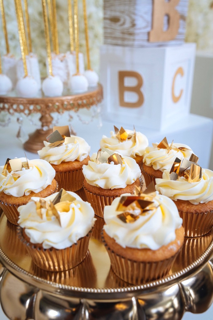 Gold Leaf Cupcakes from a White and Gold Baby Shower on Kara's Party Ideas | KarasPartyIdeas.com (5)