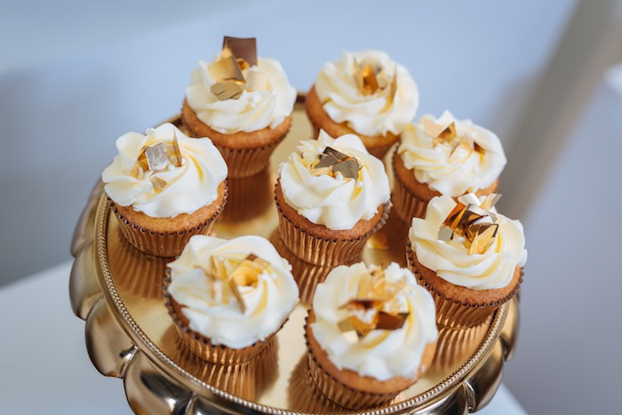 Gold Leaf Cupcakes From A White And Gold Baby Shower On Karau0027s Party Ideas  | KarasPartyIdeas