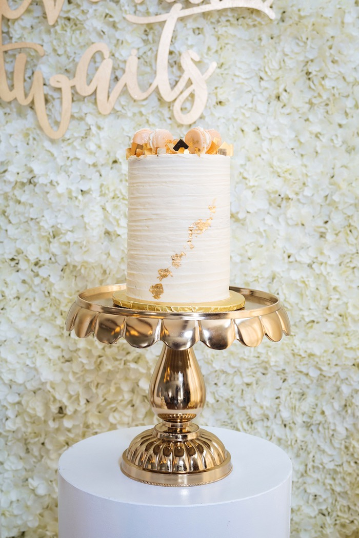 Gold Leaf Cake from a White and Gold Baby Shower on Kara's Party Ideas | KarasPartyIdeas.com (18)