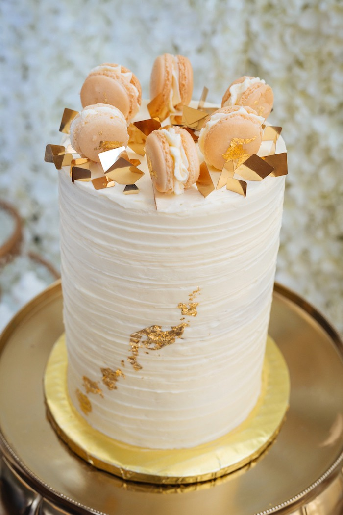 Gold Leaf-accented Cake from a White and Gold Baby Shower on Kara's Party Ideas | KarasPartyIdeas.com (16)