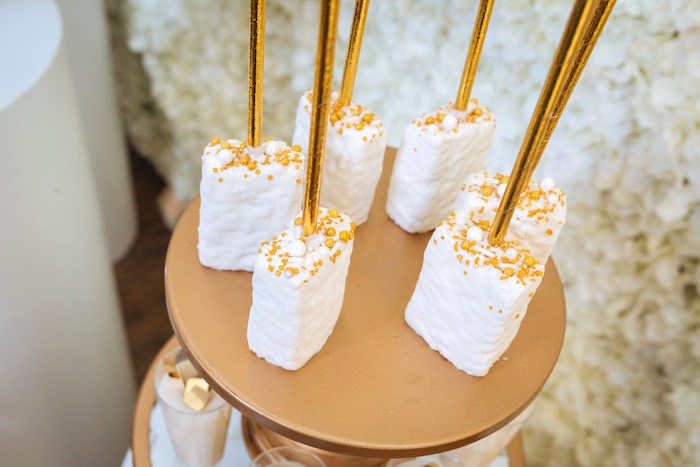 Glam Rice Krispie Treats from a White and Gold Baby Shower on Kara's Party Ideas | KarasPartyIdeas.com (13)
