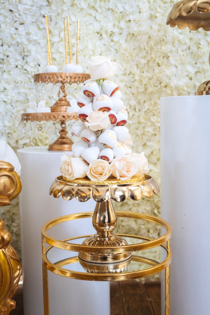 Chocolate Covered Strawberry Tower from a White and Gold Baby Shower on Kara's Party Ideas | KarasPartyIdeas.com (12)