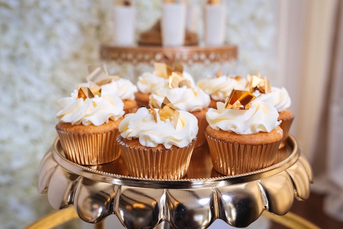 Gold Leaf Cupcakes from a White and Gold Baby Shower on Kara's Party Ideas | KarasPartyIdeas.com (10)