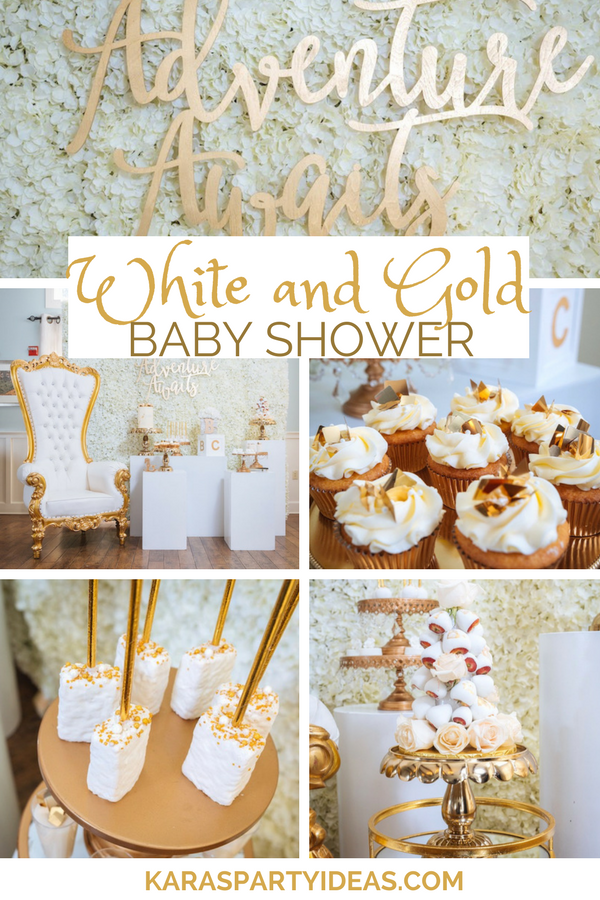 White and Gold Baby Shower via KarasPartyIdeas - KarasPartyIdeas.com