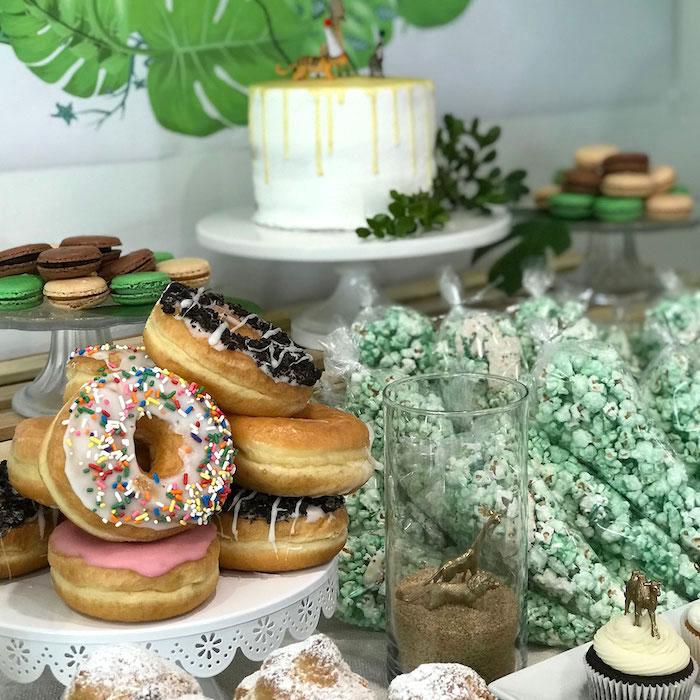 Doughnuts from a Wild & Free Jungle Birthday Party on Kara's Party Ideas | KarasPartyIdeas.com (7)