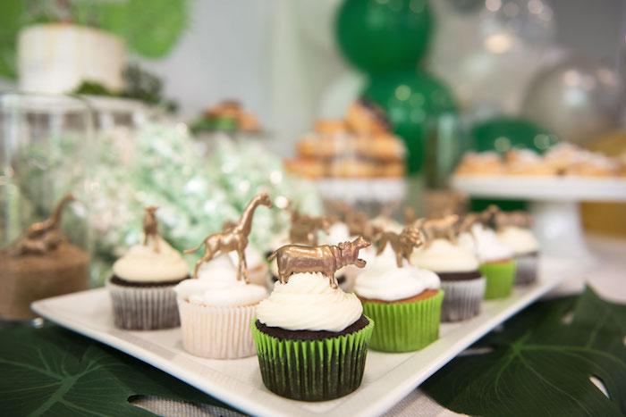 Safari Animal Cupcakes from a Wild & Free Jungle Birthday Party on Kara's Party Ideas | KarasPartyIdeas.com (12)