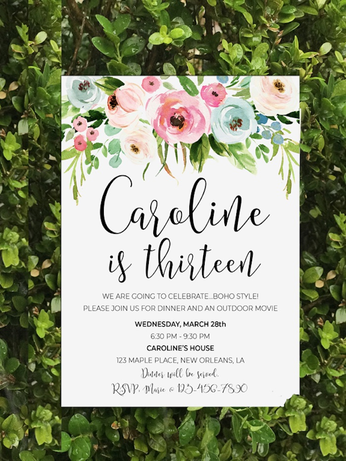Floral Invitation from a Boho Chic 13th Birthday Party via Kara's Party Ideas | KarasPartyIdeas.com