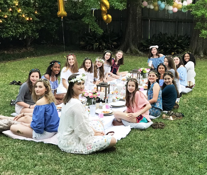 Pillow-seated Guest Table from a Boho Chic 13th Birthday Party via Kara's Party Ideas | KarasPartyIdeas.com