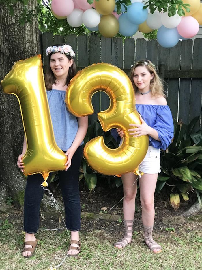Gold Mylar Number Balloons from a Boho Chic 13th Birthday Party via Kara's Party Ideas | KarasPartyIdeas.com