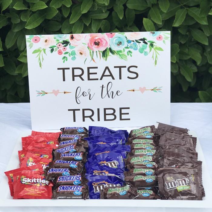 Treats for tribe sign from a Boho Chic 13th Birthday Party via Kara's Party Ideas | KarasPartyIdeas.com
