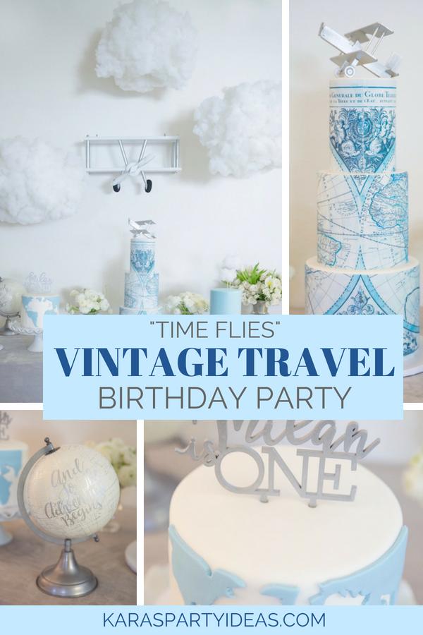 """Time Flies"" Vintage Travel Birthday Party via Kara_s Party Ideas - KarasPartyIdeas.com.png"