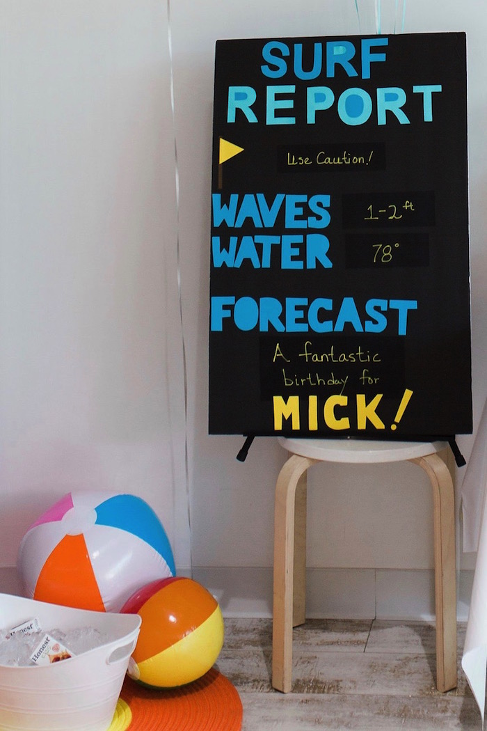 Surf Report - Milestone Board from a 1960's Surf Shack Birthday Party on Kara's Party Ideas | KarasPartyIdeas.com (14)