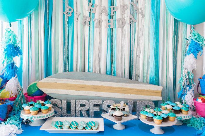 Surf Themed Dessert Table from a 1960's Surf Shack Birthday Party on Kara's Party Ideas | KarasPartyIdeas.com (13)