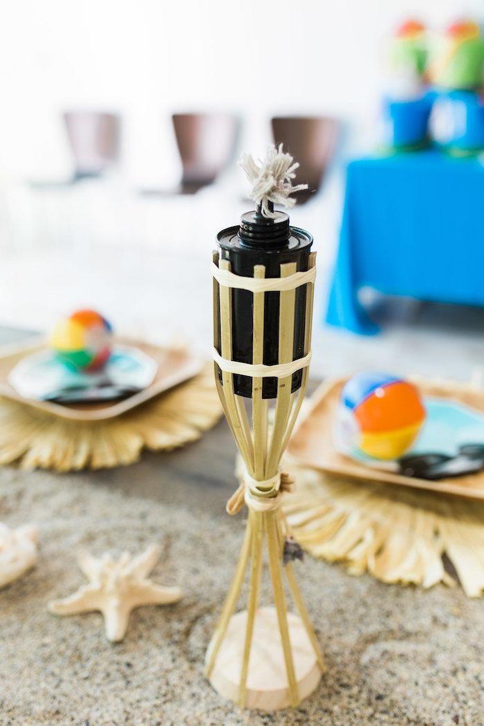 Tiki Torch Lantern from a 1960's Surf Shack Birthday Party on Kara's Party Ideas | KarasPartyIdeas.com (12)
