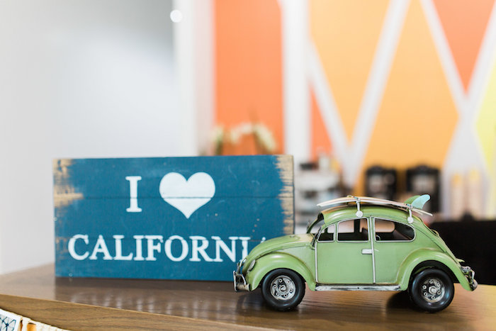 Retro Beetle + Signage from a 1960's Surf Shack Birthday Party on Kara's Party Ideas | KarasPartyIdeas.com (10)