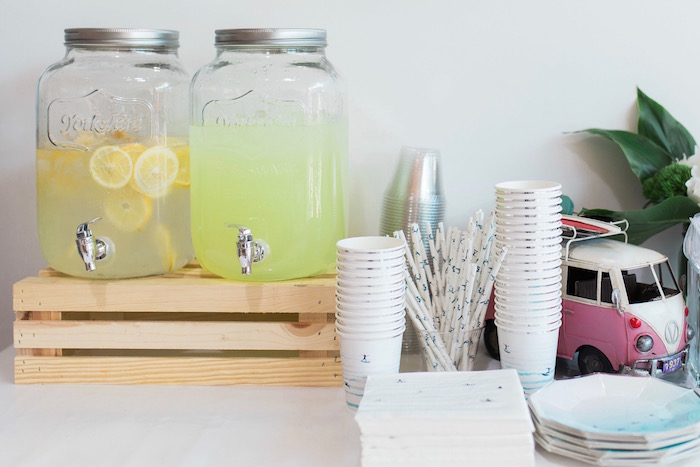 Beverage Table from a 1960's Surf Shack Birthday Party on Kara's Party Ideas | KarasPartyIdeas.com (9)