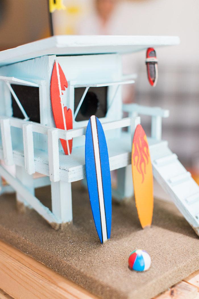 Surf Shack Table Centerpiece from a 1960's Surf Shack Birthday Party on Kara's Party Ideas | KarasPartyIdeas.com (23)