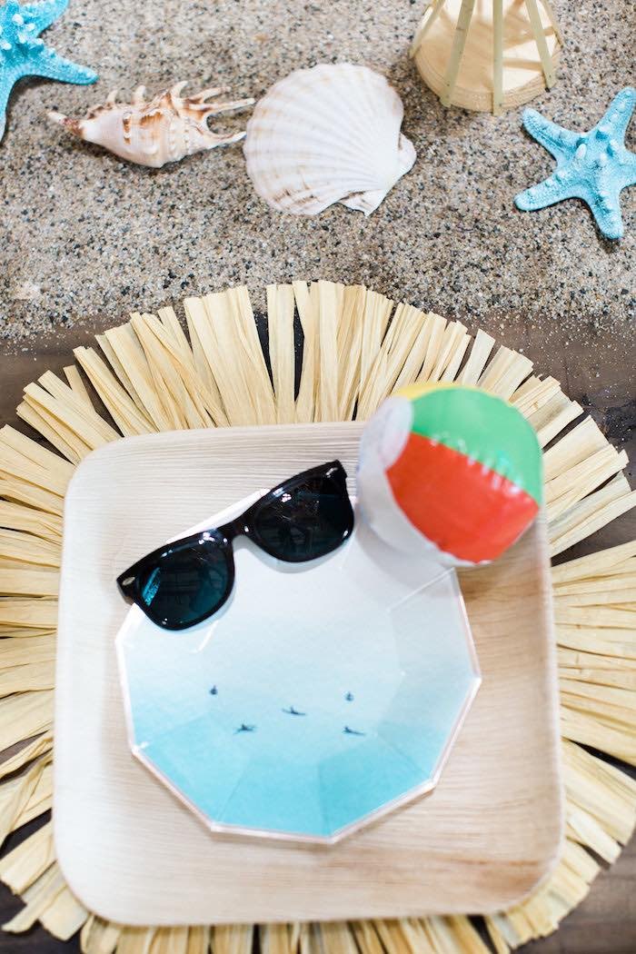 Surf-inspired Table Setting from a 1960's Surf Shack Birthday Party on Kara's Party Ideas | KarasPartyIdeas.com (22)