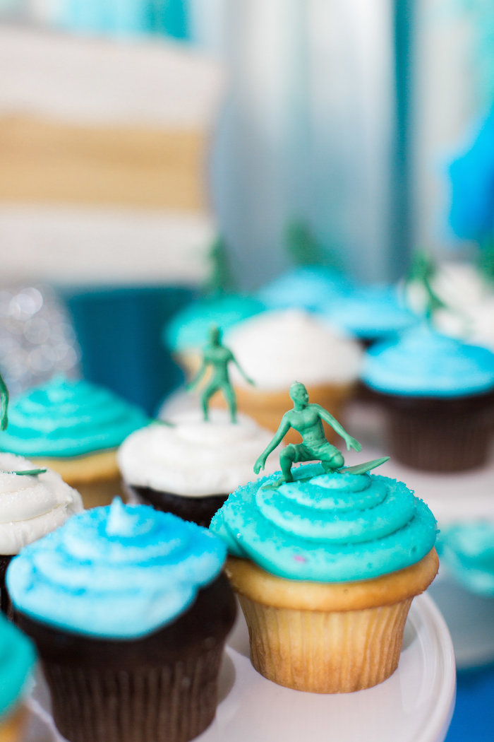 Surfer Cupcakes from a 1960's Surf Shack Birthday Party on Kara's Party Ideas | KarasPartyIdeas.com (20)