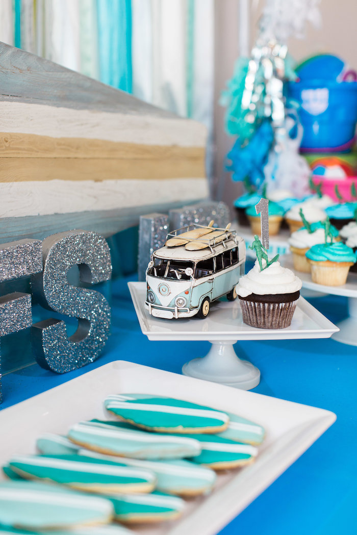 Cupcakes Pedestal + Surf Board Cookies from a 1960's Surf Shack Birthday Party on Kara's Party Ideas | KarasPartyIdeas.com (19)