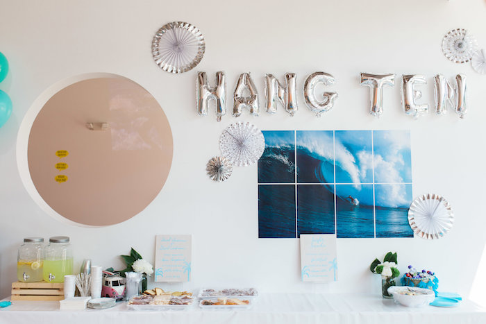 Hang Ten Party Table from a 1960's Surf Shack Birthday Party on Kara's Party Ideas | KarasPartyIdeas.com (15)