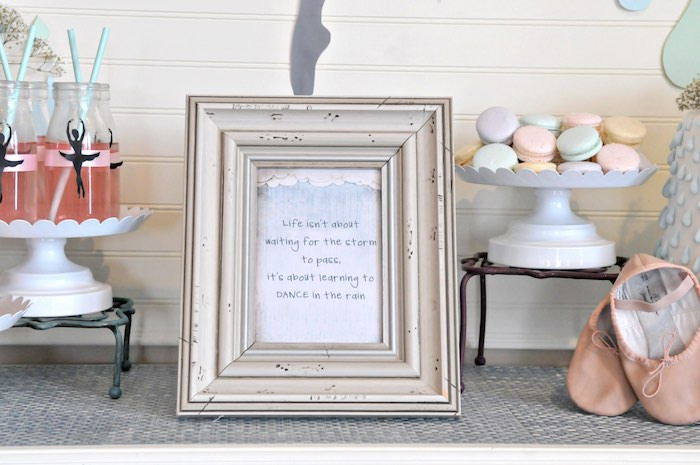 """Signage from a """"Dancing in the Rain"""" Ballerina Party on Kara's Party Ideas 