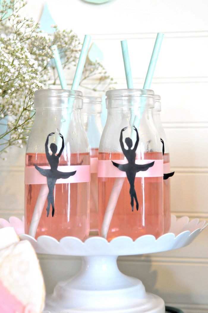 """Ballerina Silhouetted Drink Bottles from a """"Dancing in the Rain"""" Ballerina Party on Kara's Party Ideas 