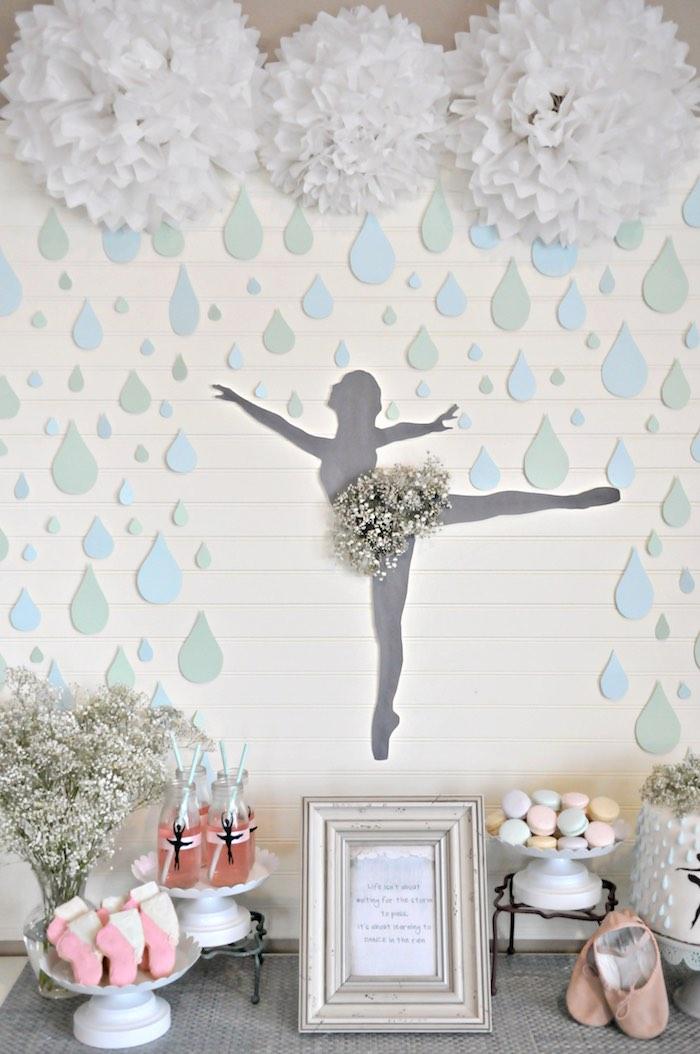 "Ballerina Sweet Table from a ""Dancing in the Rain"" Ballerina Party on Kara's Party Ideas | KarasPartyIdeas.com (7)"