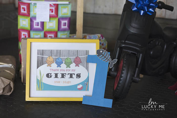 "Gift Table Print from an ""O-Fish-ally One"" Fishing Birthday Party on Kara's Party Ideas 