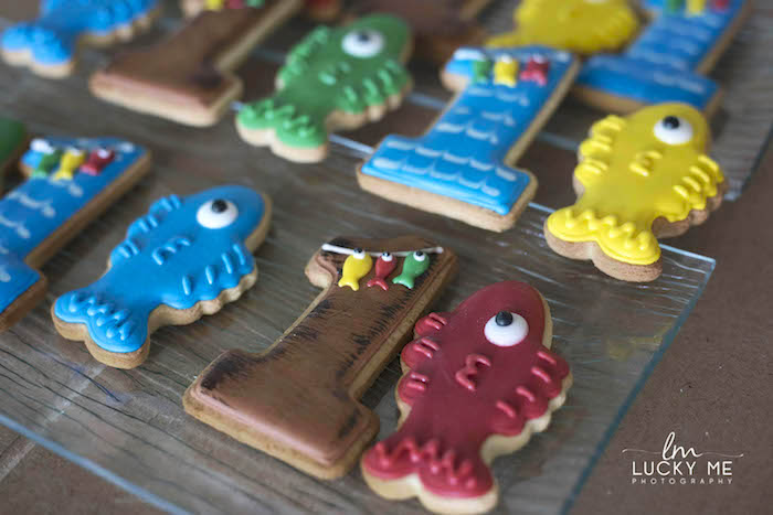 "Fish Cookies from an ""O-Fish-ally One"" Fishing Birthday Party on Kara's Party Ideas 