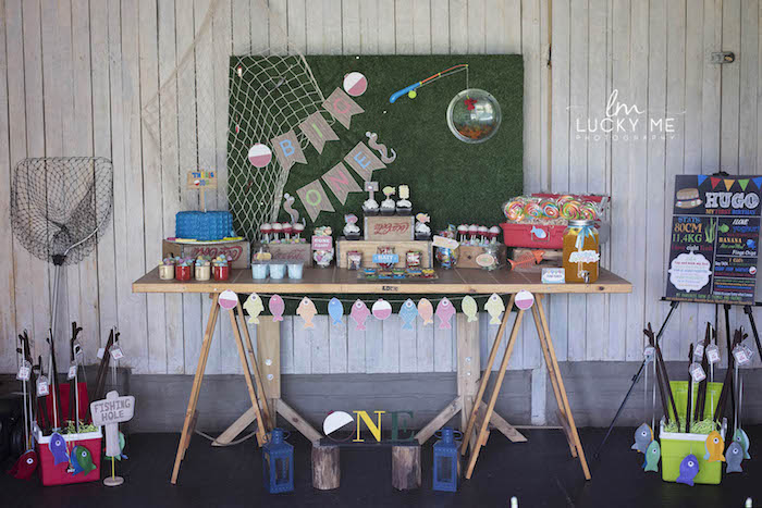 "Fishing Themed Dessert Table from an ""O-Fish-ally One"" Fishing Birthday Party on Kara's Party Ideas 