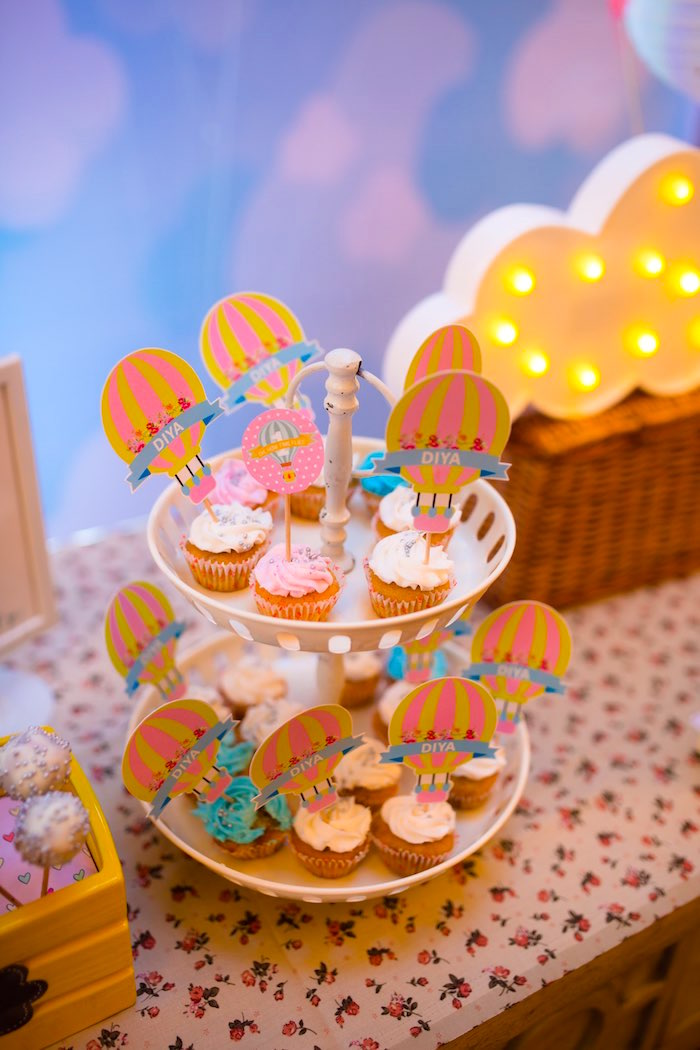 "Hot Air Balloon Cupcakes from ""Oh the Places She'll Go"" Birthday Party on Kara's Party Ideas 