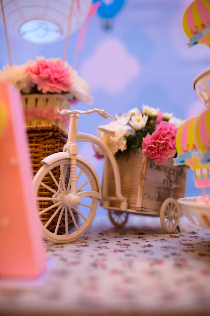 "Tricycle Floral Arrangement from ""Oh the Places She'll Go"" Birthday Party on Kara's Party Ideas 