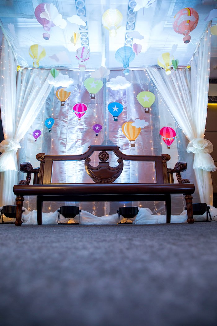 "Hot Air Balloon Lounge from ""Oh the Places She'll Go"" Birthday Party on Kara's Party Ideas 